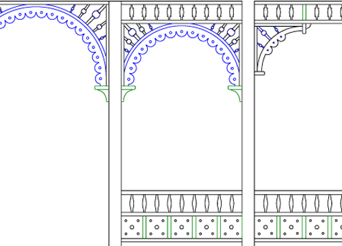 CAD drawing of new gingerbread and scrollwork