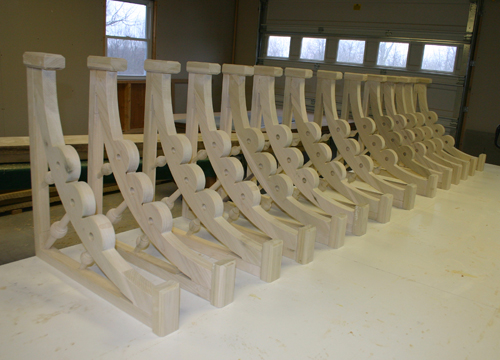 Row of custom braces for installation