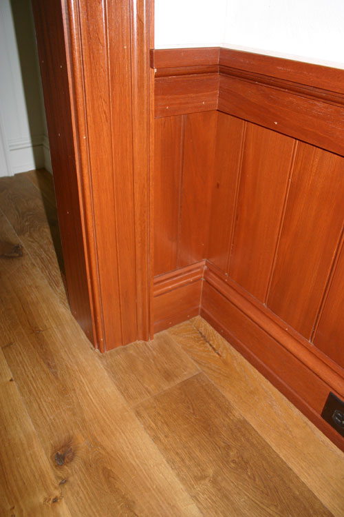 South American Mahogany casing, base molding, beadboard, wainscot, cove and sill
