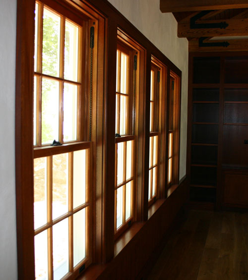 South American Mahogany beaded window casing